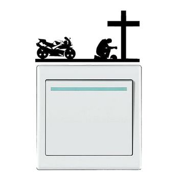 """Christian Bikers Kneel At The Cross"" Wall Decals"