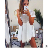2016 Trending Fashion Summer Hollow Bandage Lace Tassel Loose Round Necked Short Sleeve One Piece Dress _ 8056
