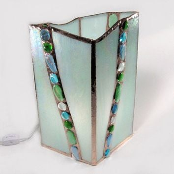 Mint Blue Stained Glass Mood Lamp