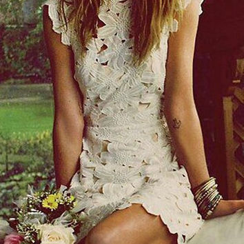 White Lace Backless Mini Dress