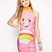 Ichiban High Neck Bodycon Dress With Rainbow Care Bear Print