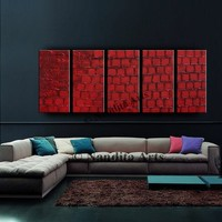 """large abstract painting original art on canvas, Red Contemporary Palette Knife heavy textured artwork by Nandita Albright, 5 Panels 60""""x 24"""""""