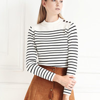 Monochrome Stripe Knit Button Shoulder Sweater
