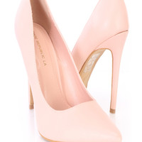 Blush Single Sole Pump Heels Faux Leather