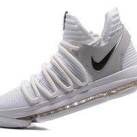 Nike Mens Kevin Durant KD 10 White/Silver 3 Basketball Shoes