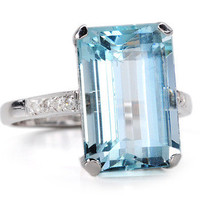 Aquamarine & Diamond Ring - The Three Graces