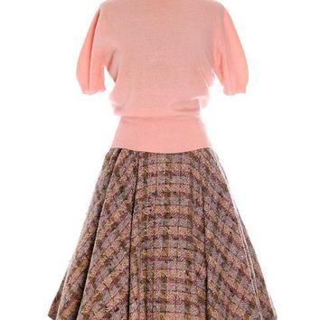 Vintage 1940s Circle Skirt Wool Tweed Pinks Gray Blums-Vogue Adorable Small