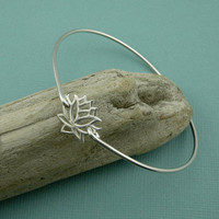 Lotus Flower Bangle Bracelet , sterling silver bangle , zen bracelet