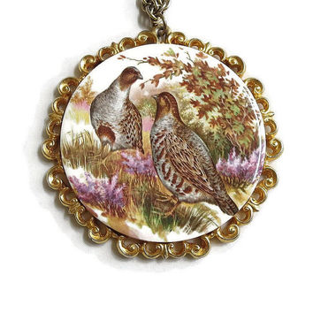 Large Vintage H & R Johnson Ltd Pheasant or Quail Glazed Ceramic Medallion Pendant Necklace
