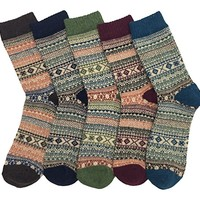 LuluVin 5 Pairs of Men's Vintage Style Knit Colorful Crew Socks