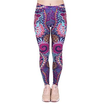 Retro Women's Leggings/Yoga/Running Pants/Mandala Flowers Pink Printing