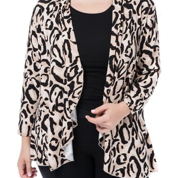 Chicwe Women's Waterfall Open Front Plus Size Printed Casual Cardigan Jacket Large Size Big Size 1X-4X