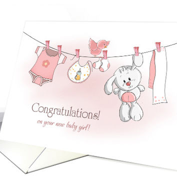Congratulations Baby Girl with Bunny and Apparel on Clothes Line card