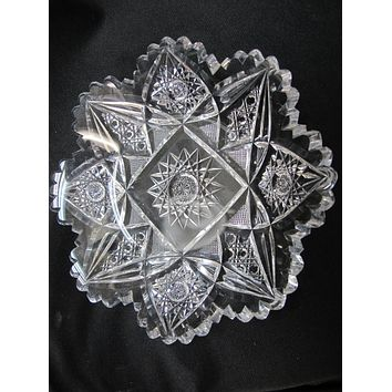 American Brilliant Period Cut Glass dish Antique