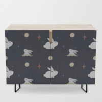 Bunnies on the Moon Credenza by lalainelim