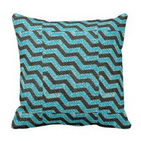 Black and Teal Chevron Stripes Print Pillow