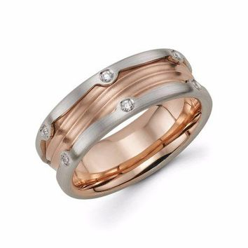Mens 14k Rose Gold Diamond Wedding Band