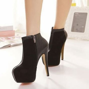 New Sexy Womens High Heel Platform Shoes Ankle Boots Suede Leather Zipper Side