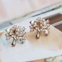 Pearled Wishing Tree Rhinestone Earrings