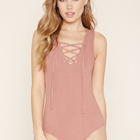 Ribbed Lace-Up Bodysuit | Forever 21 - 2000205682