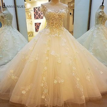 LS00108 Luxury wedding dress for bridal beading A line short sleeves lace wedding gowns vestidos de noivas real photos 2018