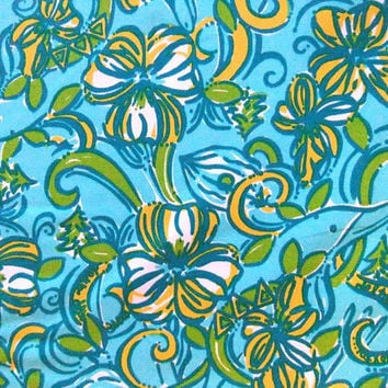 "18"" x 18"" or 1 YARD Lilly Pulitzer Sorority Fabric Delta Delta Delta, Tri Delta"