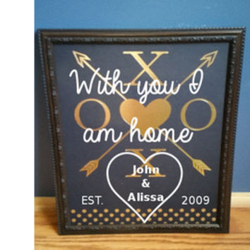 Memory photo frame, With you I am home, wall hanging, Anniversary gift, wedding gift, wife gift, husband gift, personalized couples gift