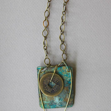 Old I Ching Coin on Copper Pendant Rusty Blue and Verdigris Patina on Copper w Antiqued Brass Chain Rustic Boho Minimalist Jewelry