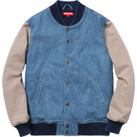 Supreme: Denim Twill Varsity Jacket - Light Blue