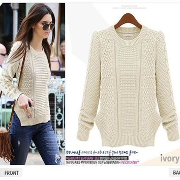 Twisted Pullover Women's Fashion Long Sleeve Knit Sweater [22425862170]