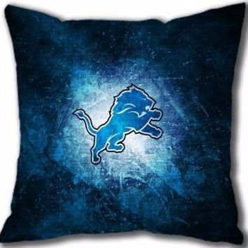 2015 Hot Sale Detroit Lions Logo Sport Theme Unique Throw Pillowcases Art Bedroom Zipper Cushion Decorative Square Pillow Cover