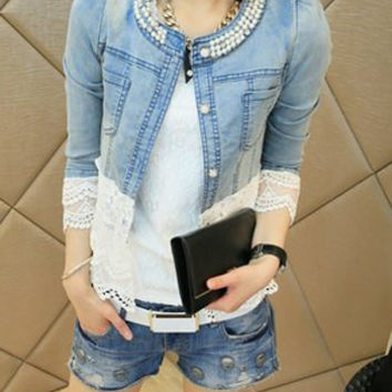 Blue V-Neck Denim Jacket