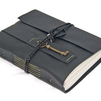 Black Leather Journal with Key Bookmark