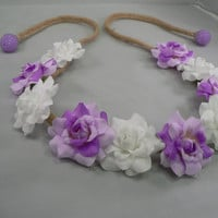 Purple & White Flower Braided Headband, Boho Flower Child, Hippie Halo, EDC, Ezoo, TomorrowWorld, Rave Wear, Hair Accessories, Flower Crown
