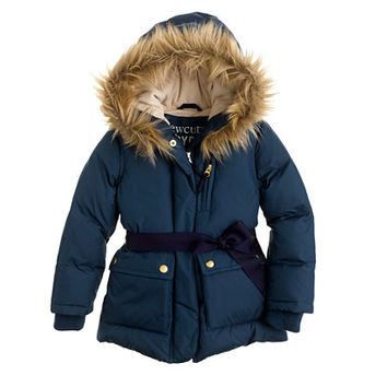 Girls' furry hooded puffer - puffer - Girl's jackets & outerwear - J.Crew