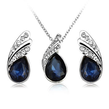 Water Drop Crystal Necklace Earrings Jewelry Set