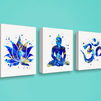 Buddha Wall Art, Canvas Print Set, Watercolor Buddha, Lotus, Om Symbol, Yoga Studio Decor, Buddhist Art, Spiritual Art, Meditation Room