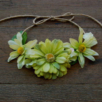 Flower Crown Green Flower Headband Halo Crown - Boho Festival Style