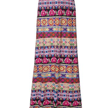 Streetstyle  Casual Delightful Flared Maxi Skirt In Striped Tribal Printed