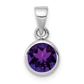 925 Sterling Silver Rhodium Plated Polished Amethyst Round Shaped Pendant