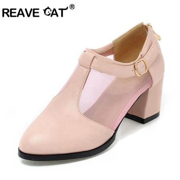 REAVE CAT New Women's Shoe Patchwork Women Pumps Pu+ Mesh Thick Heels Shoes Ladies T Strap Pump Stiletto Footwear A524
