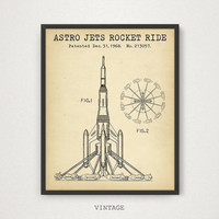 Astro Jets Rocket Ride, Disneyland Amusement Ride Blueprint Printable, Disney World Art Poster, Digital Download, Disney Rocket Ride Print