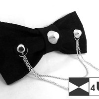 Leather Bow Tie Black Bowtie with chains Real Suede Necktie Painted Fancy Special Wedding Bow Tie Groomsmen Bow Tie Man Men Lady Dickie Bow