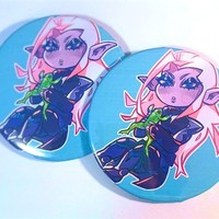 """Lotor and Frog Glitter 2.5"""" Button Pin"""