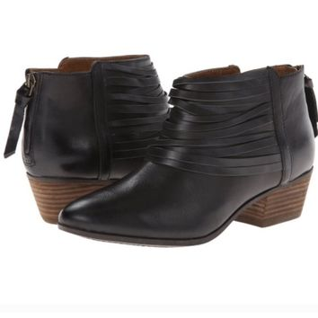 Clarks Leather Fringe Spye Celeste Ankle Boots