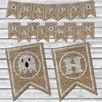 Burlap Halloween Ghost Banner – Printable Home Decor –  Halloween Party Decoration – Stamped Ghost Burlap Banner - INSTANT DOWNLOAD