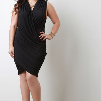 Plus Size Sleeveless Cocktail Draped Dress