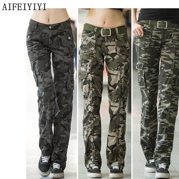 PANTS Women Workout Casual Military Camouflage Cargo Jeans Pants Denim Overalls Ladies Straight Multi-pocket Trousers