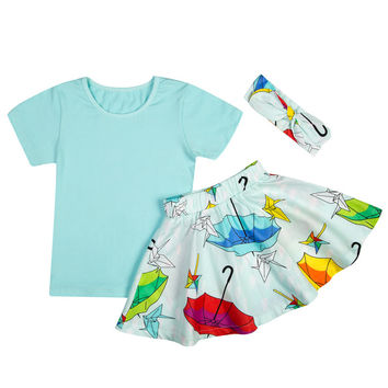 Umbrella Girls Skirt Set with Matching Tee and Headband