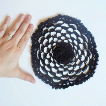 Crochet Rose Doily in Black, ready to ship.